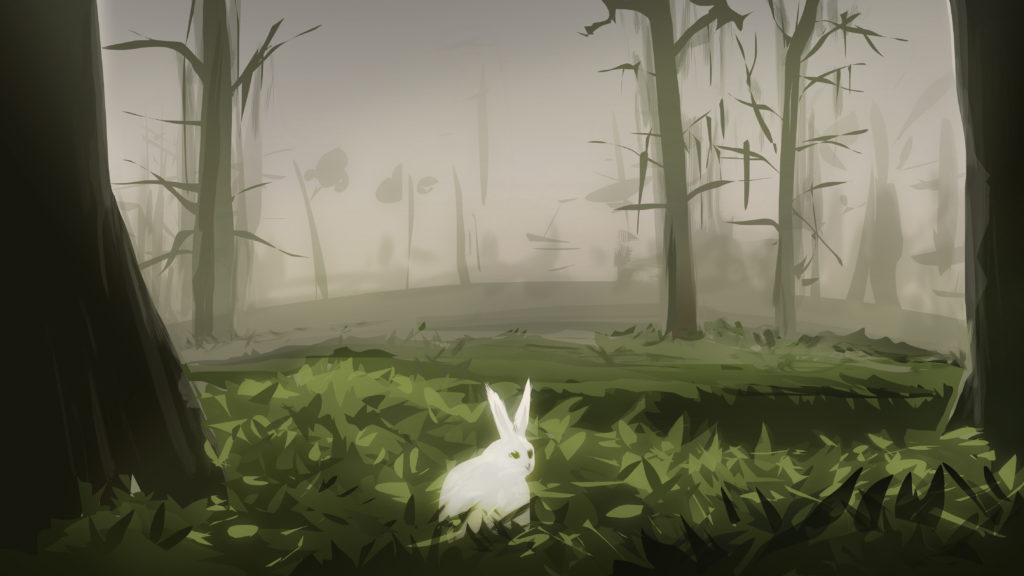 digital sketch forest landscape bunny