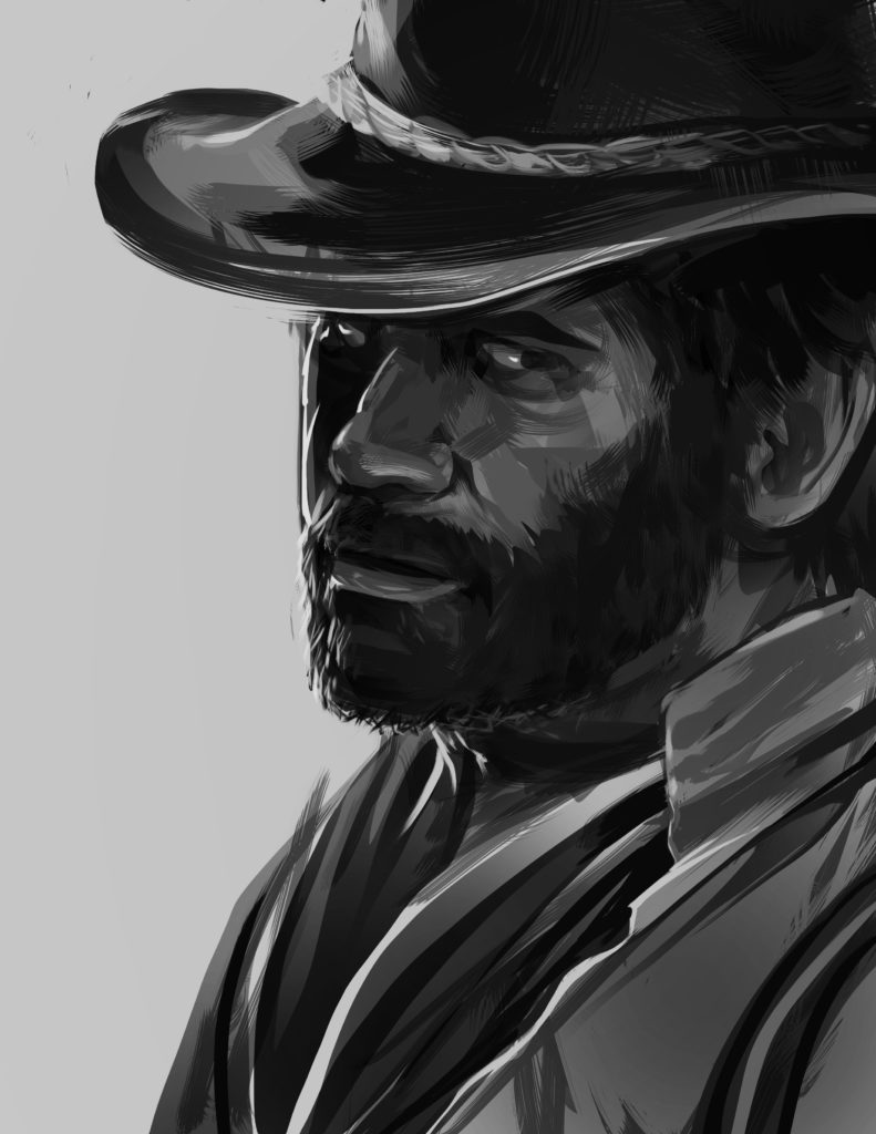 red dead redemption sketch bw
