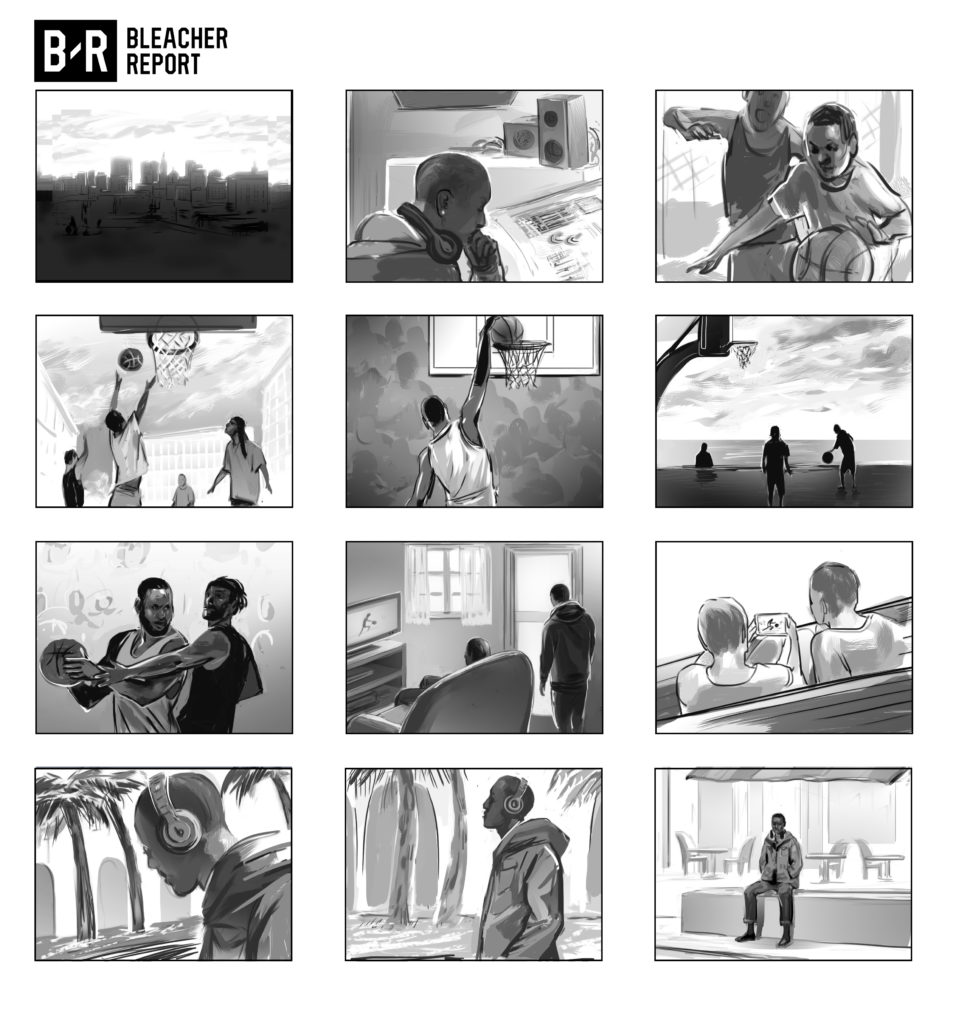 commercial shaded black and white storyboard