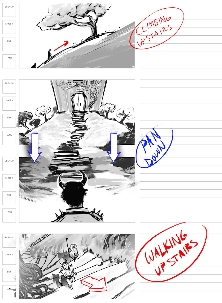 storyboard black and white shaded videogame