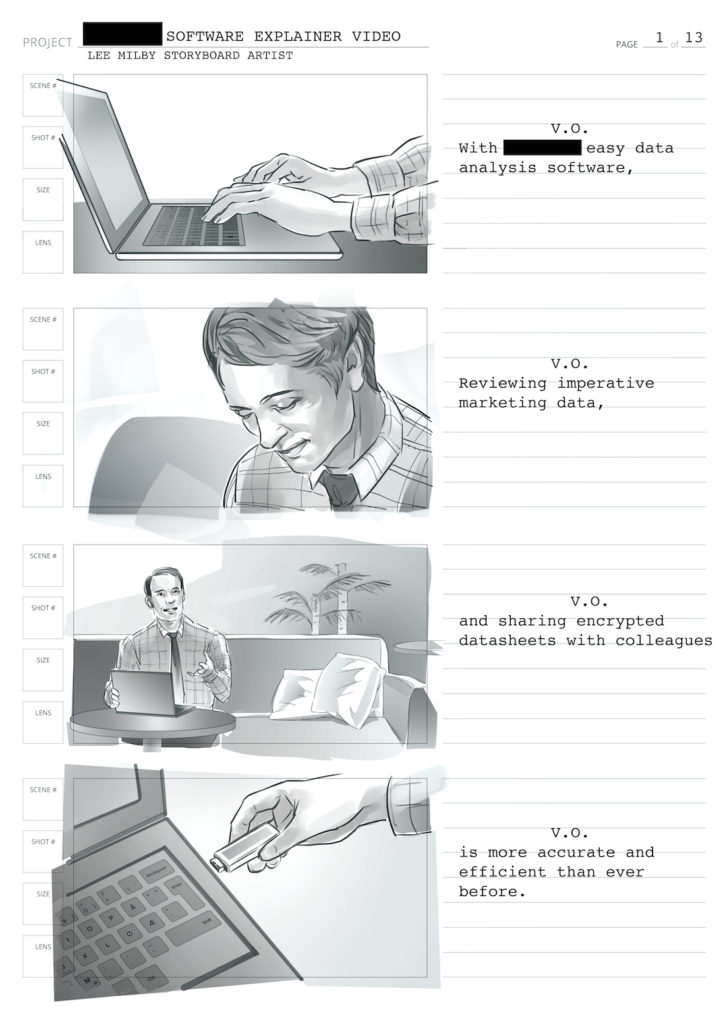 storyboard technology commercial black and white