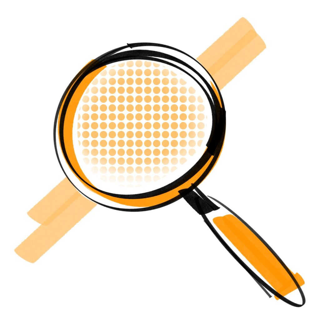magnifying glass orange icon