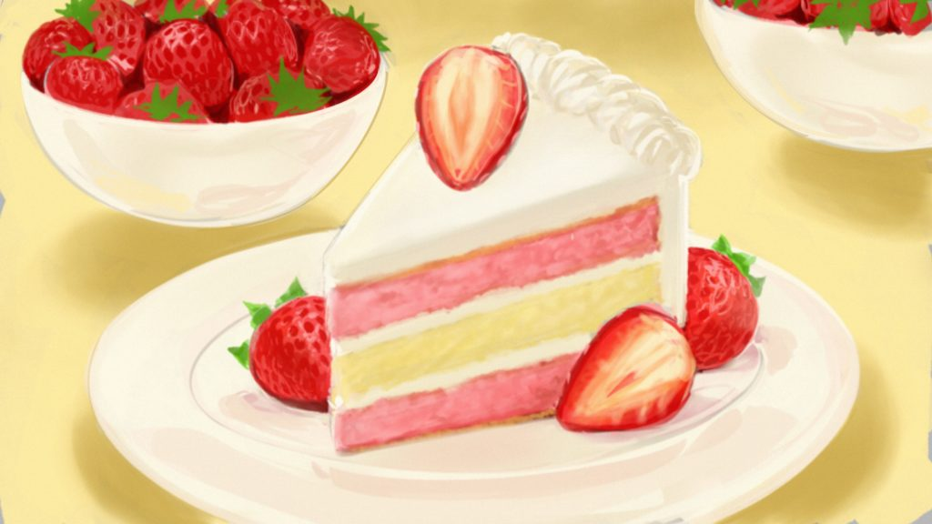 strawberry cake drawing in color with pink layers