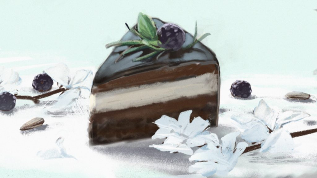 Chocolate layer cake digital drawing with white flowers, almonds, and blackberries.